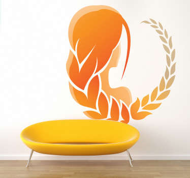 A star sign decal illustrating the zodiac sign, Virgo. Brilliant horoscope sticker for those born between August and September. Vibrant orange design of a woman with plaits in her hair, simple but effective for giving a room some colour and character.