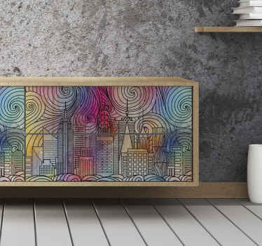 An amazing painted city furniture sticker to decorate any furniture surface in style.It is available in any required size.