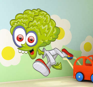 Kids Wall Stickers - Fun and playful design of a green alien. Ideal for bedrooms and play areas for kids.