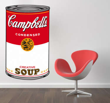 Art decal of the vintage Campbell's soup, made into a work of art by the pop artist, And Warhol. Decorate and personalise your room with this design!