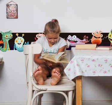 Una increíble cenefa infantil de monstruos simpáticos coloridos para decorar. Tamaño personalizable. Alta calidad ¡Envío a domicilio!