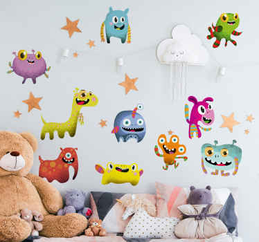 Create an amazing and fascinating bedroom space for your kid with our monster sticker featured with different colorful monsters and space elements.