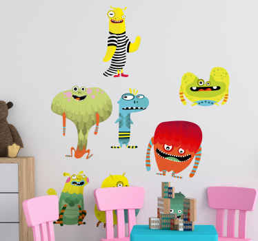 Pretty coloured monsters wall sticker for kids bedroom space. It is available in any requited size , self adhesive ans easy to apply.