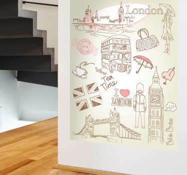A London wall sticker illustrating the English capital with all its historical landmarks, its famous double-decker bus along with featuring tea and umbrellas. The England Wall sticker is great for decorating your home.