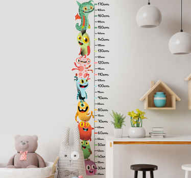Decorative monster meter height chart decal for children bedroom space. It is self adhesive and easy to apply on flat surface.