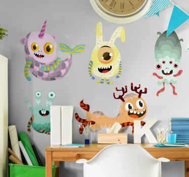 Decorative monster vinyl wall sticker with various monsters  to create an amazing and thrilling space for kid. Available in any required size.
