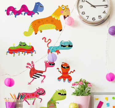 Decorative home wall sticker with the design of various monsters in pretty colors to decorate the bedroom space of kids.