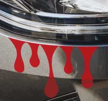 車のライトの周りに配置できる血の滴のデザインが付いたオリジナルの車のステッカー。あなたが必要とする任意のサイズと色で利用可能です!