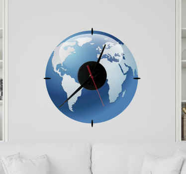 Original wall clock sticker that will remind you it is time to travel. Fantastic design of blue oceans and continents will be a perfect decoration!