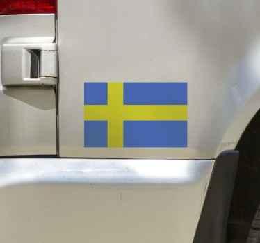 Dekorativa väggdekor för sverige flagga för ett fordonsutrymme. Det är självhäftande, enkelt att applicera och finns i önskad storlek.
