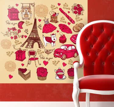Dessins sur stickers faisant référence à Paris et ses principales caractéristiques.Idée déco pour les murs de la chambre ou le salon.