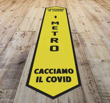 Adesivo decorativo per la segnaletica del pavimento con un'istruzione di distanza di 1 metro. Questo design è per spazi pubblici come centri commerciali, supermercati, uffici ecc.
