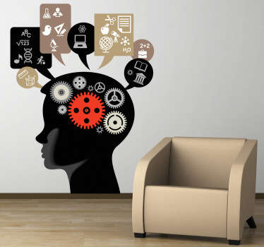 Hjärnarbete vägg klistermärke