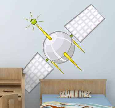 Kids Wall Stickers - Fun vector design of a satellite. Turn the walls into space and let this satellite orbit the room.