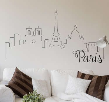 A set of three wall stickers with vintage designs of postcards from Paris.