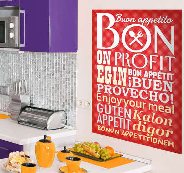 Kitchen Stickers - Enjoy your meal written in different languages. Decal designs to decorate your kitchen, cooking or dinning area.