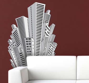 Vinilo decorativos rascacielos dibujo