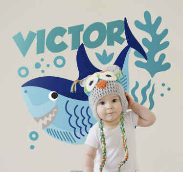 Buy our original personalisable name baby shark wall sticker for a child's bedroom space. It is easy to apply and it is available in any needed size.
