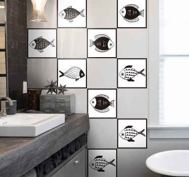 Add life to a bathroom space with our unique and amazing fish pattern sticker design for tile space. It is easy to apply and available in any size.