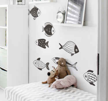 Vinilos decorativos infantiles de peces para decorar el dormitorio de tu hijo con un patrón bonito y alegre ¡Envío a domicilio!