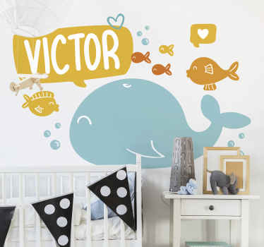 Decorative and happy ocean animal wall sticker for children bedroom space. It is customisable with any name you want. Easy to apply.
