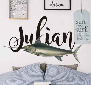 A decorative customisable name  swordfish wall sticker to create an amazing new look and design for your space. It is easy to apply and self adhesive.