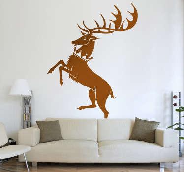 Vinilo con la imagen sintetizada de un ciervo, característica de la poderosa casa de los Baratheon, uno de las tantas familias que luchan por el poder en la famosa serie de la HBO.