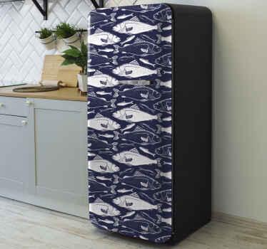 Vinilo para frigoríficos o refrigeradores con peces nadando bajo el mar con el que podrás cambiar su apariencia ¡Envío a domicilio!