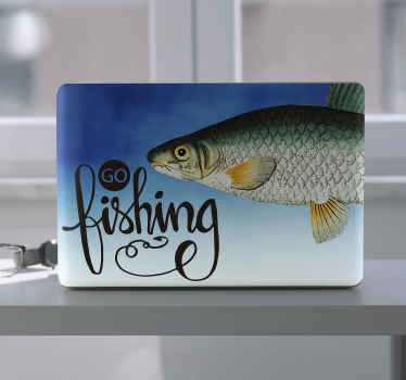 Do you love fishing? if yes then it is time to go fishing with our decorative  Vimba carp fish laptop decal  with the text '' Go fishing''.