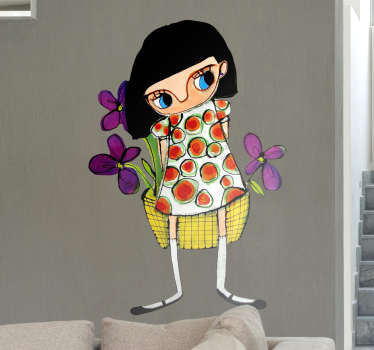 Sticker decorativo ragazza con fiori