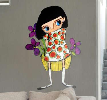Vinilo decorativo chica cesta flores