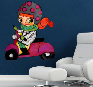 Sticker decorativo bimba in moto