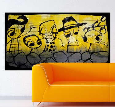 Vinilo decorativo dibujo gente