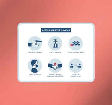 Un sticker de signalisation de gestes barrière au covid 19 avec des dessins emblématiques. Il est facile à appliquer et disponible en différentes tailles.