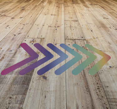 A sign floor decal with a line direction. A design for direction made in multi colours style. Easy to apply and available in different sizes.