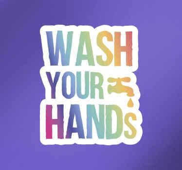 """Vinilo coronavirus de texto colorido que dice """"por favor lávese las manos"""". Apto para cualquier superficie plana ¡Envío a domicilio!"""