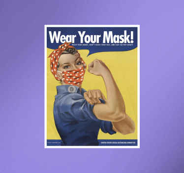 A sign wall striker with the design of a person using a face mask.  It has text instruction on it that says ''wear you mask.