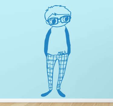 Sticker dessin garçon lunettes