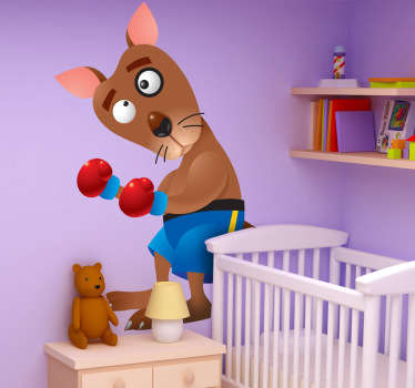 Kids Boxing Kangaroo Wall Sticker