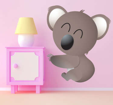 Kids Wall Stickers -Playful illustration of a koala bear smiling.
