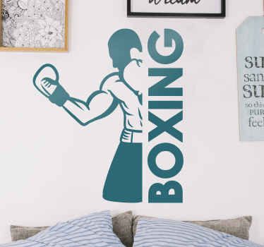 Sport wall sticker design containing a boxer's figure and the text ''boxing''. It is easy to apply and available in any size required.