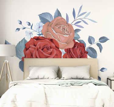 Vinilo cabecero cama de rosas gigantes para que decores tu dormitorio de forma original y bonita. Elige medidas ¡Envío a domicilio!