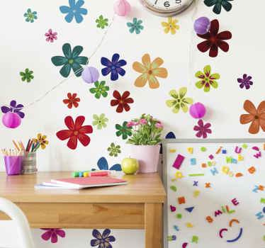 Creëer een heerlijke sfeer in de slaapkamer van een kind in onze veelkleurige bloemenprint  sticker. Het is gemakkelijk aan te brengen en gemaakt van hoogwaardig vinyl.