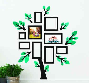 Um autocolante decorativo de parede de árvore com vários desenhos quadrados para colocar fotos. Uma Vinil decorativoideal para o álbum de família. é fácil de aplicar.