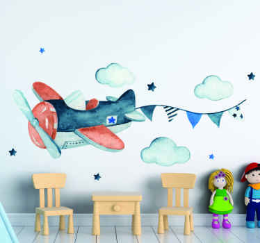 An illustrative kids wall sticker with the design of an air place, cloud and stars. It is easy to apply and made from high quality vinyl.