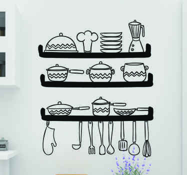 Decorate your kitchen with our original utensil wall sticker design. It comes in different colours and size options. Easy to apply.