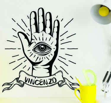 A decorative wall art sticker with a hand drawn with symbolic eye designed on the palm and it is customisable with any name required.