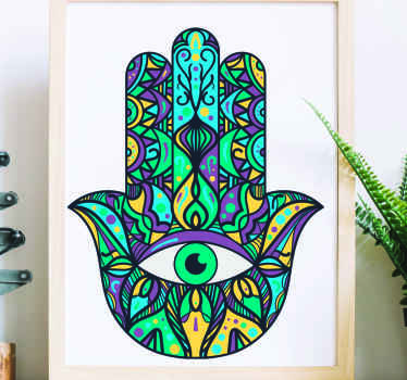 A decorative mandala wall art sticker designed in the shape of a hand with symbolic eye. It is easy to apply and available in any size.