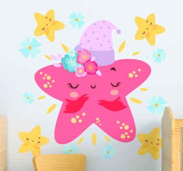 Een decoratieve kleurrijke sterren illustratieve muursticker voor kinderen met het ontwerp van verschillende maten sterren met vrolijke en grappige gezichten.
