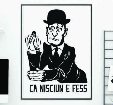 Un disegno dello sticker di Totò. Una caricatura realizzata in vinile di alta qualità. Il design è personalizzabile in qualsiasi dimensione richiesta.